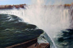 "Looking into the Falls, (plein air at Niagara), Masla, oil and alkyd on linen, 24"" x 36"""