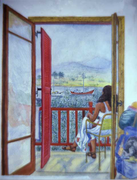 "Monica Meditating on Anti-Paros, (Greece), Masla, 1981, watercolor on paper, 12""x 9"""
