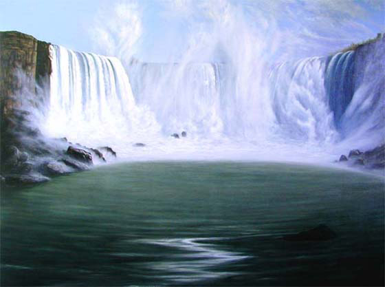 "Horseshoe Falls, (Niagara), Masla, oil and alkyd on linen, 60"" x 80"""