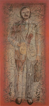 "Self Portrait in Material Energy, Masla, 1986, oil, charcoal and ink on found canvas, 71"" x 33"""