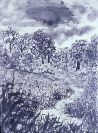 "Ward Acres, A Place of Predilection,(painted in plein air) Masla, 1976, Sumi-e brush and ink on rice paper 28"" x 20.5"""