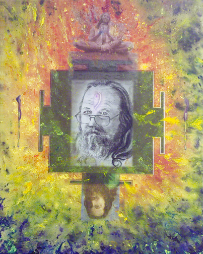 """Kalya Tapasya,(The Transforming Power of Time), Masla, 2007, 40"""" x 30"""", mixed media digital collage painting, combining images from 30 years of painting, including, in the center, the underpainting of Self Portrait Turning 50 which was painted with sumie brush and ink on panel"""
