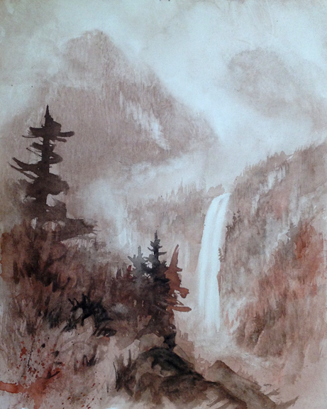 Robert Masla, Flowing, watercolor on Fredrix watercolor canvas, 20 x 16 inches