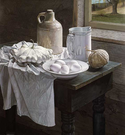 """White Still Life"", pastel on paper, 31.5"" x 21.25"" - Jane Lund"