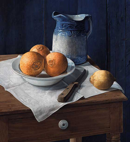 """Still Life with Blue Pitcher"", Pastel on Paper, 30""x 27"" - Jane Lund"