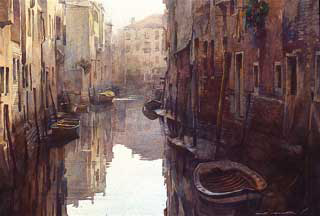 "Stan Miller - ""Venice Calm"" - Watercolor, 10""x14"""