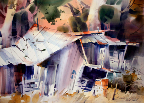 Sterling Edwards, Too Few Nails, watercolor on Fabriano cold press paper
