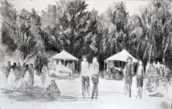 Sketch, Rythm of 2, graphite wash