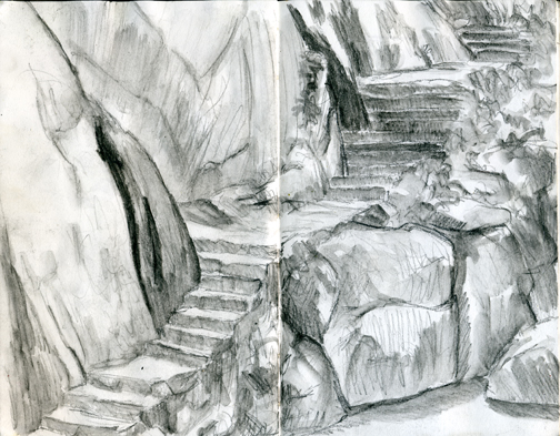 Sketch, sketch&wash study - Stairs at Colomitos, Boca72dpi