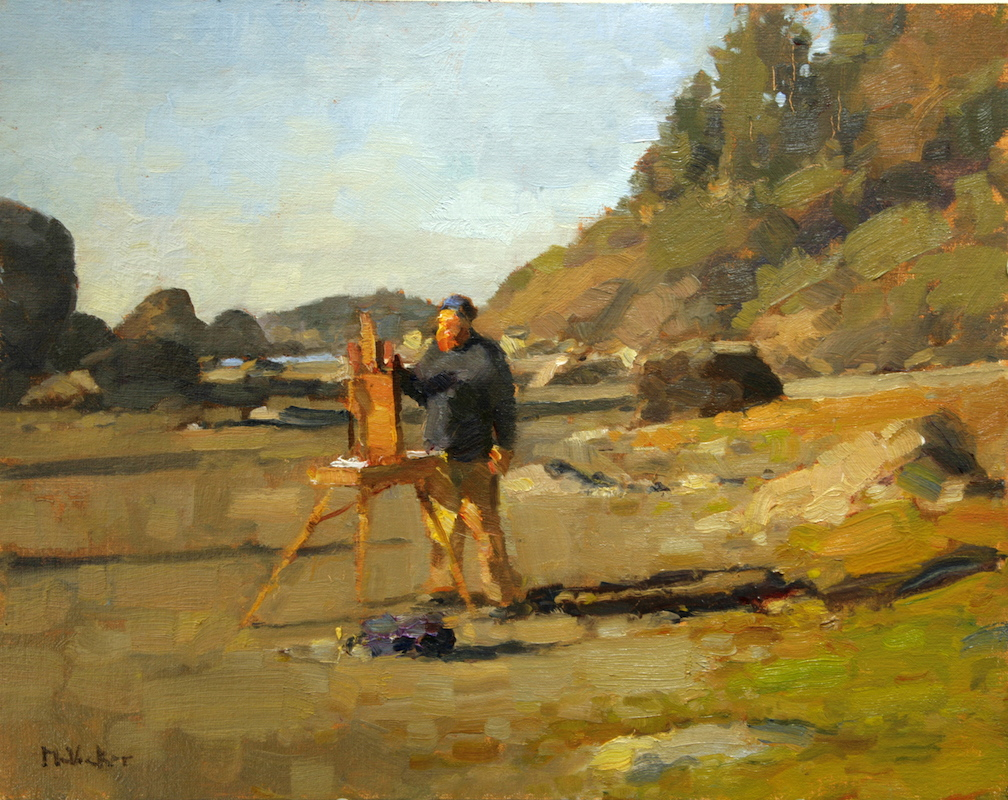 andrew paints moonstone beach,11x14,oil on linen panel
